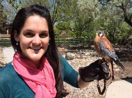 Sarah Schulwitz Ph.D. with kestrel